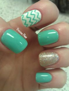 Turquoise, White, and Gold Glitter with Chevron Nail Art Design