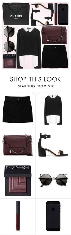 """black and rouge for today!"" by fashionstylenoww ❤ liked on Polyvore featuring Uniqlo, Alice + Olivia, STELLA McCARTNEY, Gianvito Rossi, NARS Cosmetics, Chanel, black and rouge"
