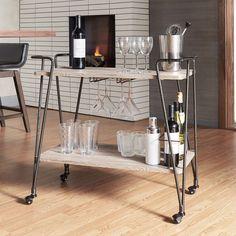 Inspire Q Metropolitan Dark Bronze Industrial Metal Mobile Bar Cart with Wood Shelves