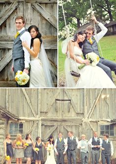 yellow and grey themed wedding guys buy grey suits instead of renting tuxedos