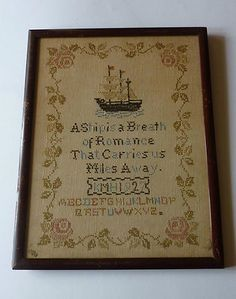 CUTE Vintage AMERICAN Sampler: with Sailing Ships & Roses Border, on eBay at topdogbasil