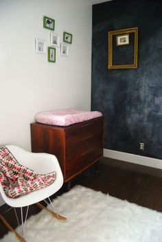 White with chalkboard wall