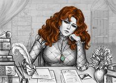 Triss Merigold is writing a letter by Anastasia Kulakovskaya (Witcher)