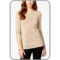 Champagne Pullover Sparkling ✨Sweater BCX's pullover sweater with rib-knit trim and Lurex stripes adds sparkle to any outfit... Scoop neckline Pullover style Long sleeves Intarsia-knit stripes with Lurex Rib-knit trim at neckline and sleeves Easy fit Hits at hip Acrylic/polyester/metallic BCX Sweaters Crew & Scoop Necks