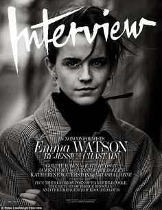 Cover girl: Emna Watson appears on the May 2017 issue of Interview Magazine in a black-and-white photo
