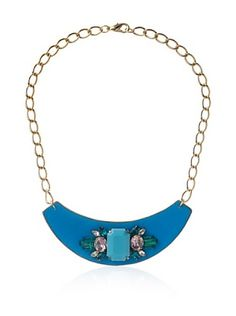 60% OFF Sandy Hyun Blue Leather Bib Necklace