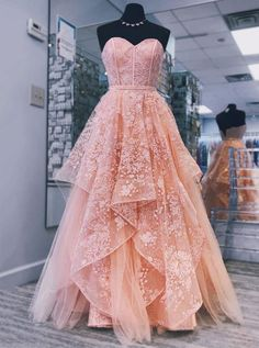 A-line Sweetheart Peach Prom Dresses Gorgeous Long Prom Dress Evening Gowns Prom Dresses Long Pink, Princess Prom Dresses, Pretty Prom Dresses, Sweet 16 Dresses, Ball Dresses, Sweet Sixteen Dresses, Elegant Dresses, Sexy Dresses, Pink Princess Dress