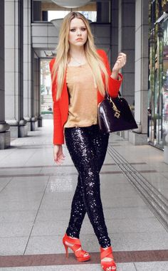 street style sequined pants