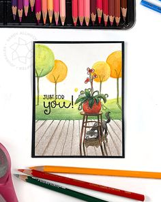 Watercolor Pencils Techniques, Colored Pencil Techniques, Same Ol Same Ol, Sandy Allnock, Autumn Scenes, Cat Cards, Big Love, Clear Stamps, Art Techniques