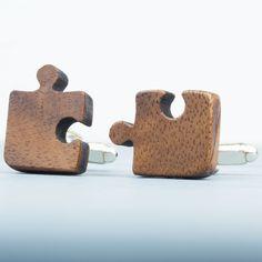 Personalised wooden jigsaw cufflinks . . . . . der Blog für den Gentleman - www.thegentlemanclub.de/blog