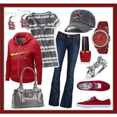 Cardinals MLB Game Day!!, created by bowsandmorebows on Polyvore