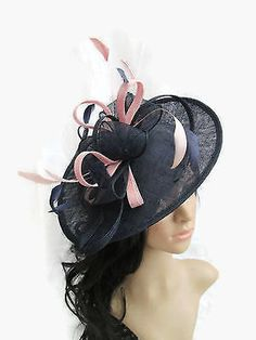 23cce44ec04 Navy Blue Fascinator Hat with Girly Pink trim   feathers on a Headband