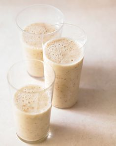Whole Living Recipe: Banana, Almond Milk, and Date Smoothie: Crush a handful of ice cubes in a blender; add bananas, halved dates, almond milk, and a sprinkling of ground flaxseed; blend until smooth.
