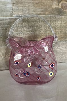 Murano Vintage Glass Purse Handbag Vase Pink Glass Purse