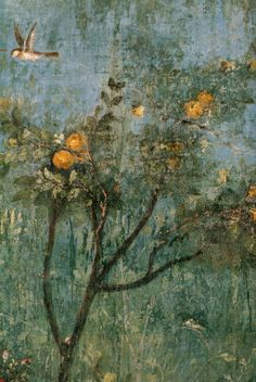 garden frescoes painted on the walls of the Villa di Livia in Rome #art
