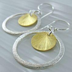 Brushed Two Tone Circle Earrings  Textured by alisonkelleydesigns, $40.00