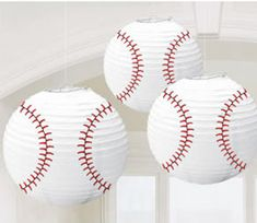 These are cute for a baseball party, but I am gonna use them for my child's bedroom. Hanging from the ceiling above there bed. Bar mitzvah, birthday party, baby shower with baseball theme Softball Party, Baseball Birthday Party, 1st Birthday Parties, Boy Birthday, Birthday Ideas, Sports Party, Birthday Stuff, Baseball Party Supplies, Tennis Party