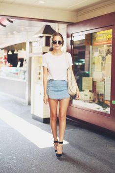 20 Modern Ways to Style a Denim Skirt for Spring - plain white t-shirt + super mini denim skirt and chic black ankle strap heels