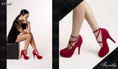 Zapatos MARF : Modelo Fiorella   cabritilla rojo, azul y negra