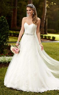 Strapless Sweetheart Lace Princess A-line Wedding Dress with Sash