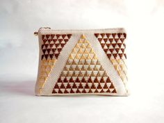 Small purse, cosmetic pouch, traditional Japanese hand embroidered, Geometric pattern