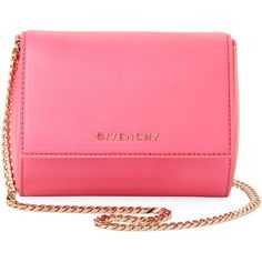Givenchy Women's Pandora Box Mini Leather Chain Shoulder Bag - Pink ($1,196) ❤ liked on Polyvore featuring bags, handbags, shoulder bags, pink, leather shoulder bag, genuine leather handbags, pink purse, mini handbags and chain strap handbag