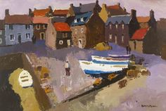 """Donald Mcintyre """"Boats on the Quay, Crall"""" acrylic on board 21 x Costa, Local Painters, Open Window, Fishing Villages, Beach Art, Cool Drawings, British, Abstract, Sea Paintings"""