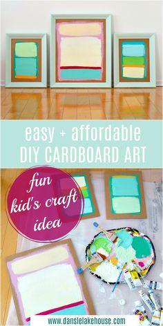 DIY cardboard art project for kids Food Art For Kids, Fun Crafts For Kids, Diy For Kids, Kids Fun, Adult Crafts, Kid Crafts, Decor Crafts, Cardboard Crafts Kids, Cardboard Art