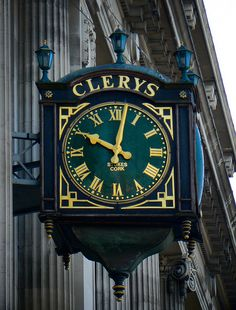 Clery's Clock - outside the shop on O'Connell Street, Dublin.  A famous dublin landmark.