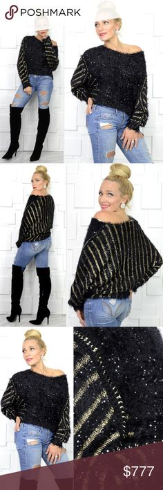 FUZZY KNIT BLACK & GOLD SWEATER Brand New Boutique item price is firm  Check out this sassy yet cozy fuzzy knit sweater, featuring edgy chain detail down sleeves, black and gold threaded strips on backside and mini silver sequins all over. Grab your jeans and get into this cozy and SO SOFT sweater!!!   True to size for style Material 80% acrylic 10%rayon 10%Luren Modeled in a size small (Model is a size small 34b) . Sweaters