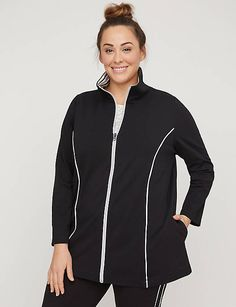 8fea344f2f3 Striped-Neck Yoga Jacket with Side Piping