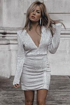 e751edef DIVA SEQUIN RUCHED MINI DRESS SILVER - Elle Belle Attire