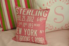 Great gift idea: baby stats on a throw pillow for the nursery! #babygift #giftidea