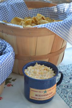 Mexicorn dip---one can of Green Giant Mexicorn (11 oz), 2 cups shredded cheddar cheese, 1/2 cup mayonnaise, 1/2 cup of sour cream, and 1 green onion finely sliced. Mix and chill. Serve with corn chips.