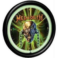 Megadeth Neon Wall Clock Officially licensed plastic Megadeth wall clock with mains powered neon tube lighting surround.