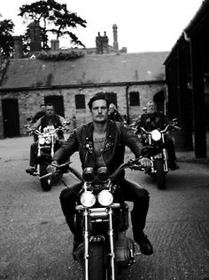 Brett Reeves joins Sam Webb and his father Andrew Webb in the story 'Leather Gets Better With Age' in the Fall/Winter issue of GQ Style UK, photographed by Branislav Jankic and styled by Nicola Formichetti. Biker Boys, Gq Style, Vintage Motorcycles, Uk Fashion, Motorbikes, Harley Davidson, Hot Guys, Hot Men, Vehicles