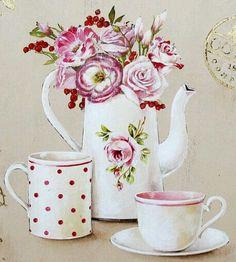 Decoupage Vintage, Decoupage Paper, Vintage Pictures, Art Pictures, Tea Cup Art, Decoupage Printables, Kitchen Art, Free Paper, Vintage Cards