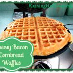 Cheesy bacon cornbread waffles. Yes, waffles just got better. With some shredded sharp cheddar, crispy bacon, and cornmeal, waffles just became amazing!
