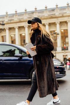 fur coat, sneakers