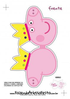 Peppa Pig Princess Head Invitation - Front 2 - Making Our Party Invitation Peppa Pig Princess Head – Front 2 Invitation Peppa Pig Princess Head – Front 2 Invit Peppa Pig Princesa, Cumple Peppa Pig, Pig Birthday, 4th Birthday Parties, Invitacion Peppa Pig, Peppa Big, Peppa Pig Party Supplies, Pig Crafts, George Pig