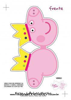 Convite Cabeça Peppa Pig Princesa - Frente 2