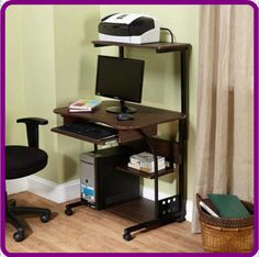 Mobile Computer Tower Desk Stand Workstation Shelves Keyboard Tray Espresso NEW #Generic