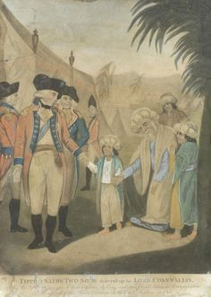 Tipu Sultan's two sons delivered upto Lord Cornwallis