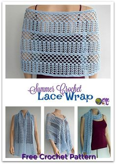 Free crochet pattern for the Summer Crochet Lace Wrap on CrochetN'Crafts. It's a beautiful crochet wrap for the summer, or as a scarf in the winter. #wrap #lace #crochet #freecrochetpattern #crochetncrafts