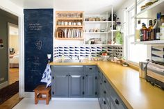 kitchen wall covering paper open cabinets -  Molly & Oliver's Creative Haven