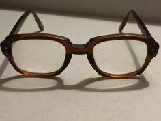 Vtg USS USA Thick Frame Eye Glass Frames Eyeglasses Amber Military Safety BCGs #USS #HornRim