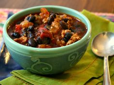 Black bean turkey chili is a warming and satisfying winter meal. The heat is balanced by a touch of molasses. This recipe makes a good sized pot. Turkey Black Bean Chili Recipe, Quick Chili Recipe, Turkey Chili, Baked Bean Recipes, Chili Recipes, Turkey Recipes, Ww Recipes, Chicken Recipes, Pressure Cooker Beans