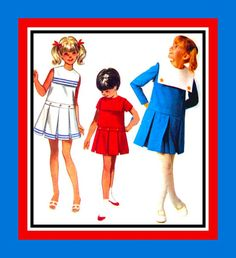 Vintage 1960s GIRLS SAILOR DRESS Sewing by FarfallaDesignStudio, $10.00