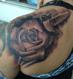 hummingbird & rose tattoo - Google Search