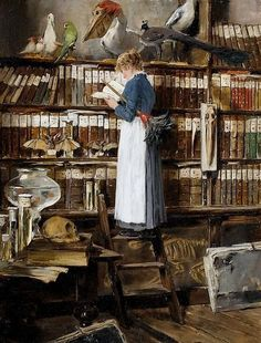 Arrumadeira lendo na biblioteca Edouard John Mentha (Suíça, 1858-1915) óleo sobre tela